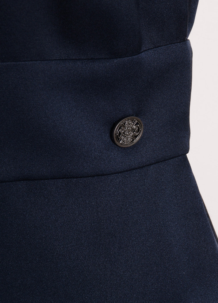 Chanel Navy Blue Silk Satin Peplum Sleeveless Blouse Detail
