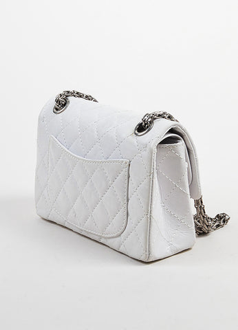 "White Aged Calf Skin Chanel ""New Mini"" 2.55 2005 Limited Ed Reissue Flap Bag Sideview"