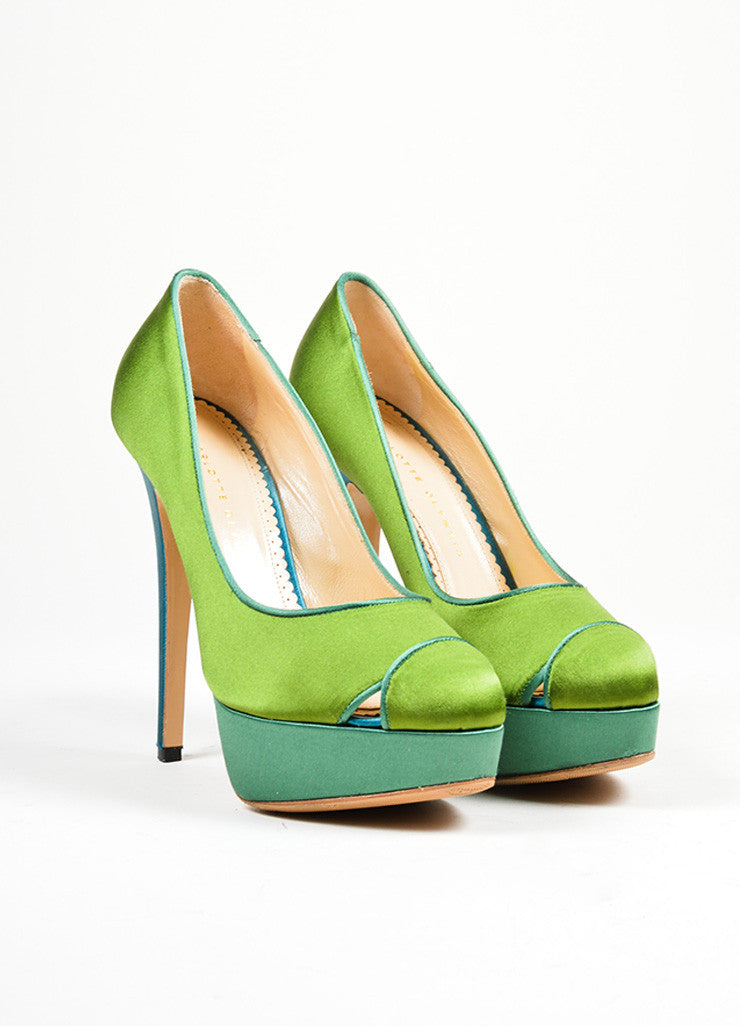 "Green and Teal Charlotte Olympia Satin ""Lais"" High Heel Platform Pumps Frontview"