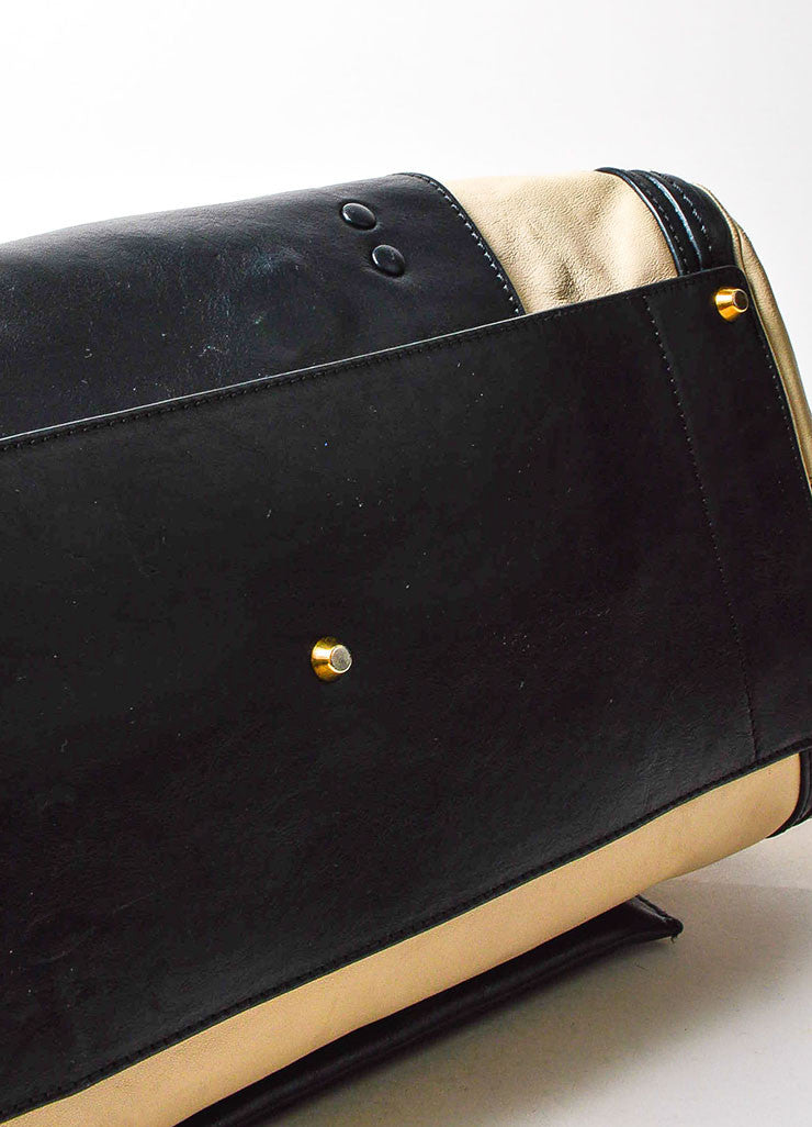 "Chloe Black and Cream Leather Gold Toned Metal ""Medium Alice"" Shoulder Bag Bottom View"