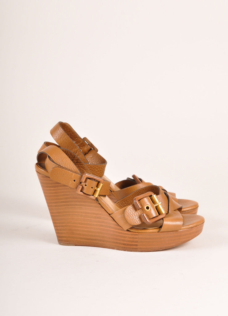 Chloe Brown Leather and Wood Buckle Ankle Strap Wedges Sideview
