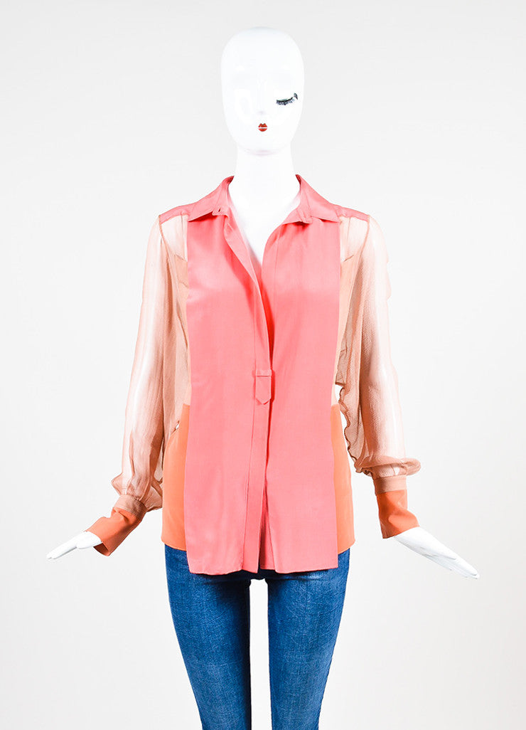 Chloe Pink Silk Chiffon Sheer Panel Button Up Long Sleeve Blouse Frontview