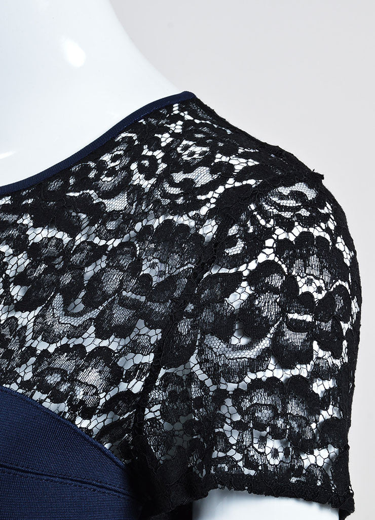 Navy Blue and Black Christian Dior Knit Sheer Lace Short Sleeve Crop Top Detail