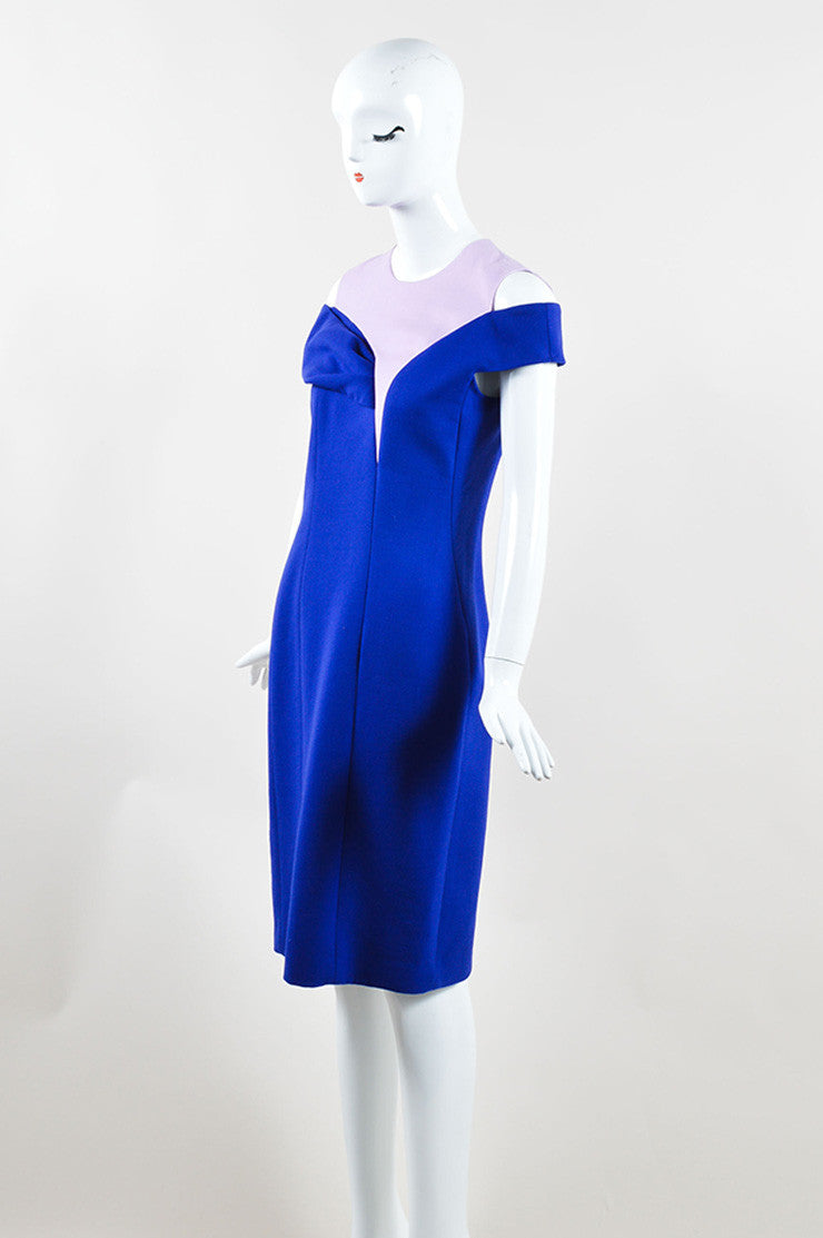 Christian Dior Blue and Pink Off Shoulder Crepe Wool Sheath Dress Sideview