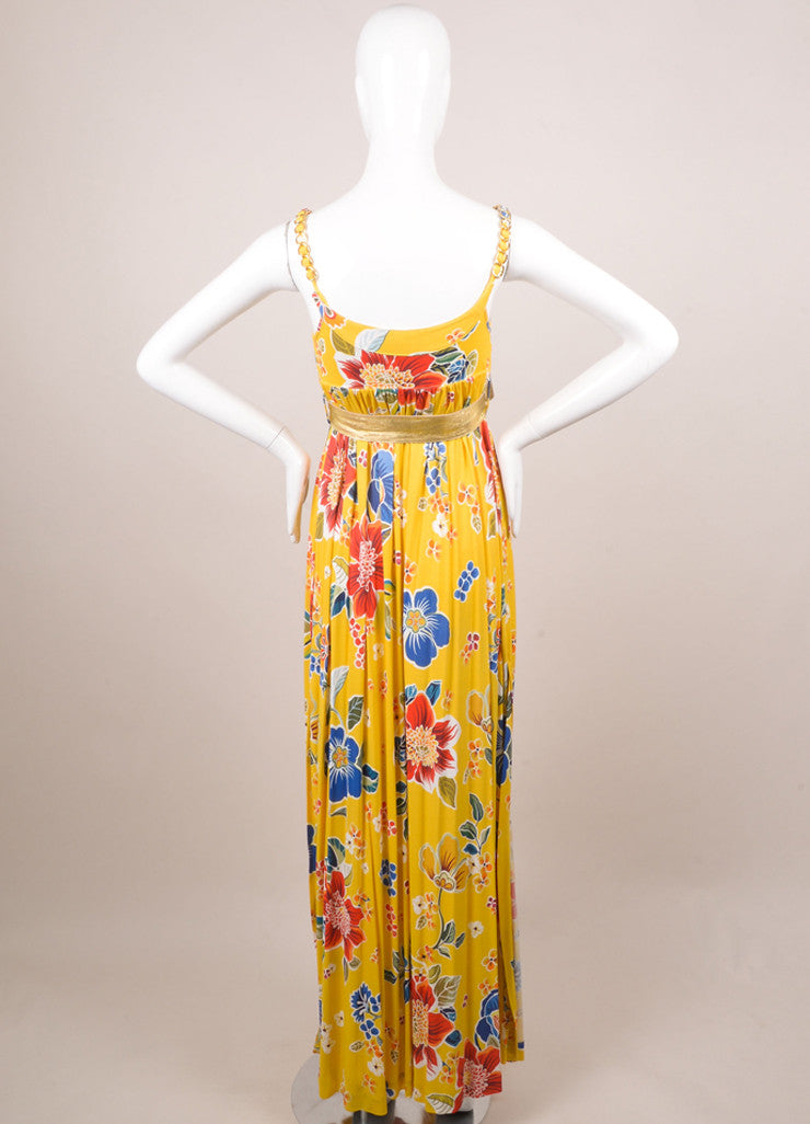 Dolce & Gabbana Yellow, Blue, and Red Floral Print Belted Maxi Dress Backview