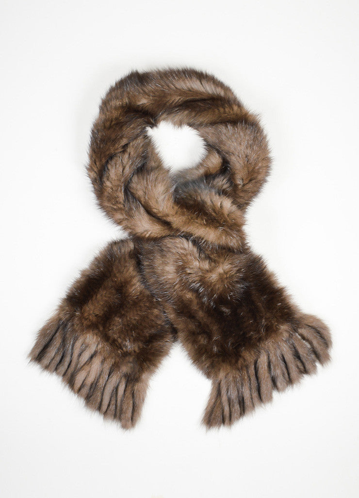 Brown David Goodman Fur Fringe Trimmed Scarf With Pockets Frontview