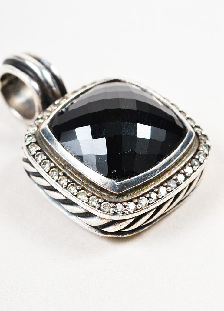 "David Yurman Sterling Silver Black Onyx Pave Diamond ""Albion"" Pendant Enhancer Detail"