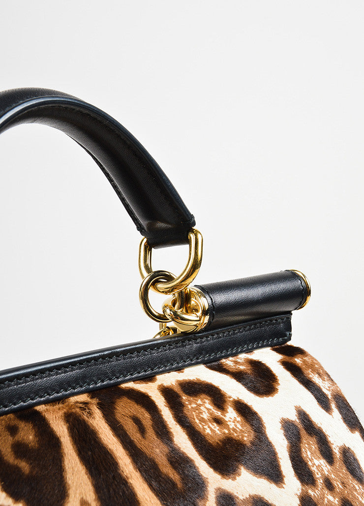 "Dolce & Gabbana Cream and Brown Pony Hair Leopard Print ""Miss Sicily"" Bag Detail 2"