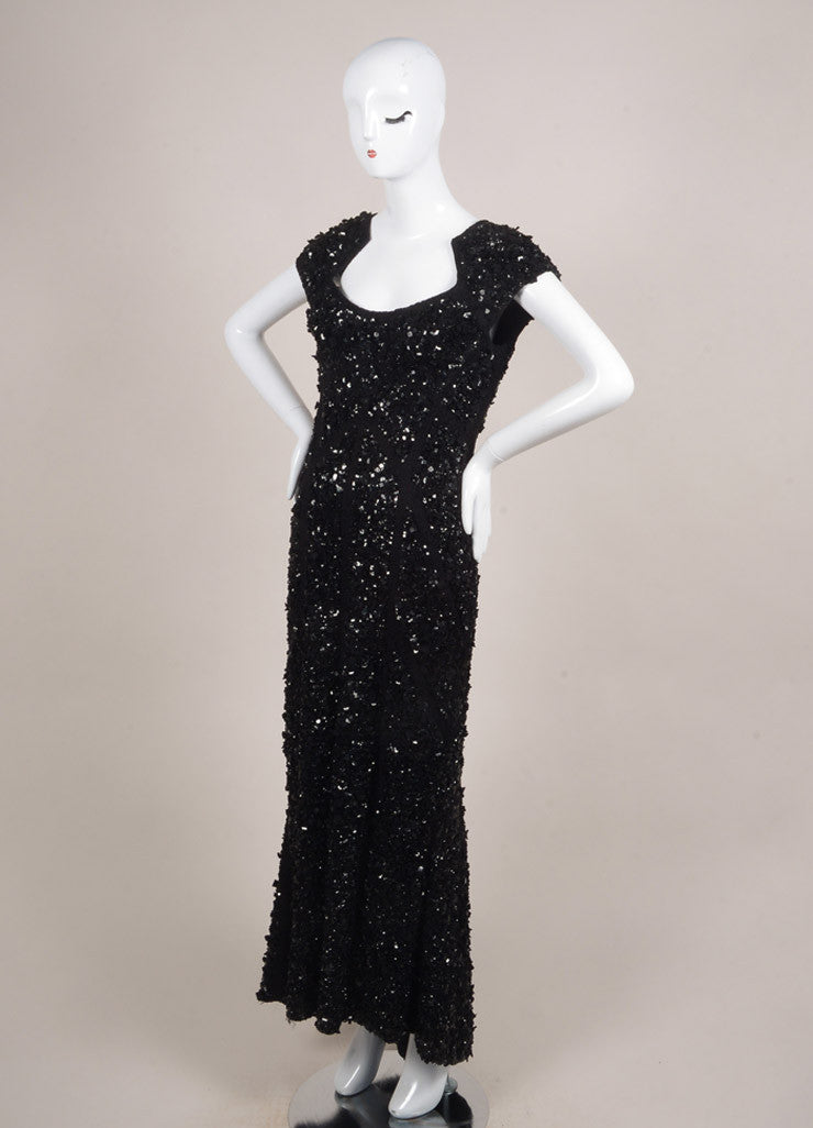 Elie Saab Black Silk Blend Lace Applique Sequin Embellished Full Length Gown Sideview