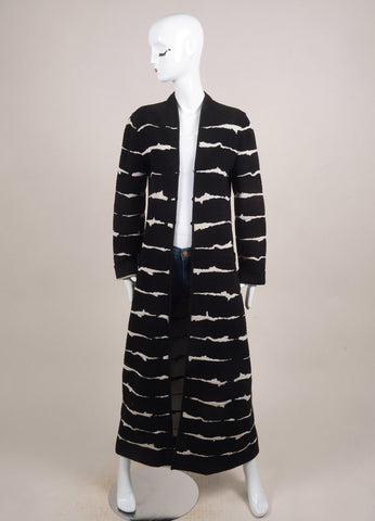 Escada Black and Cream Wool Knit Long Cardigan Sweater Frontview
