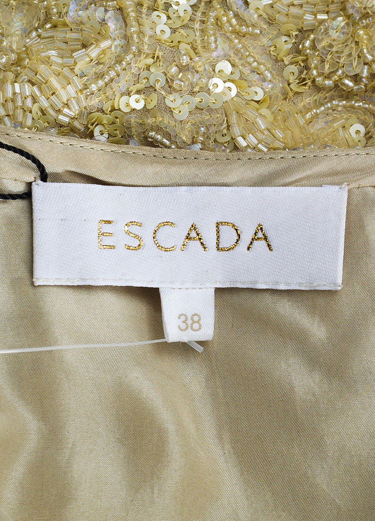 Escada Tan Silk Sequin Beaded Embellished Mini Skirt Brand