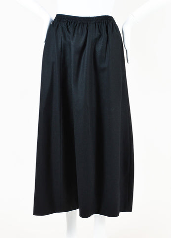 Eskandar Black Wool and Cashmere Long Skirt