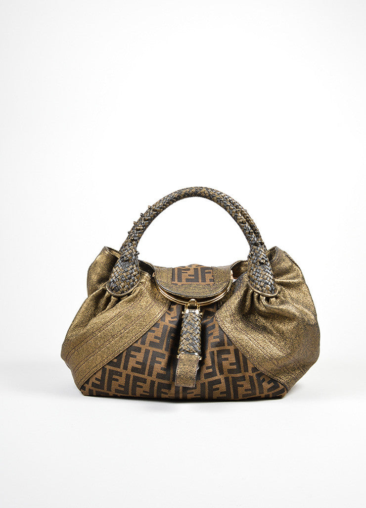 "Fendi Bronze and Ebony Brown Canvas Leather Zucca Monogram ""Spy"" Satchel Bag Frontview"