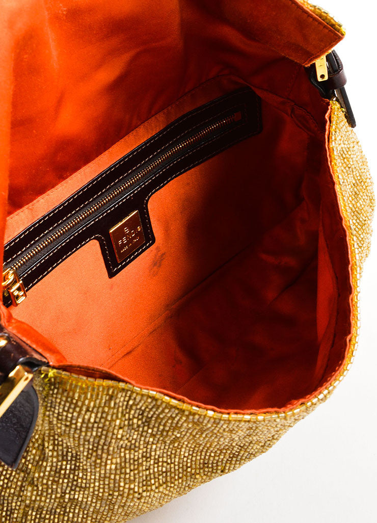"Fendi Gold and Brown Satin and Leather Beaded ""Baguette"" Flap Shoulder Bag Interior"