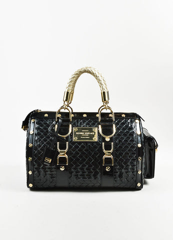 "Gianni Versace Black Patent Leather Quilted ""Snap Out of It"" Satchel  Bag Frontview"