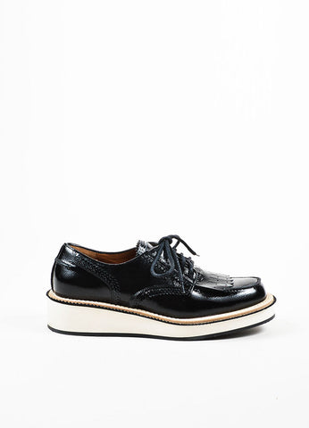 "Black Givenchy Patent Leather Fringed ""Derby"" Oxford Creepers Sideview"