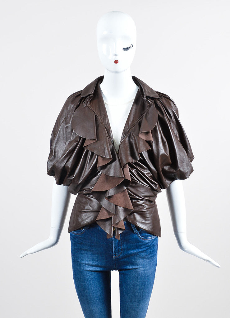 Brown Givenchy Leather Ruffle Short Sleeve Jacket  Frontview 2