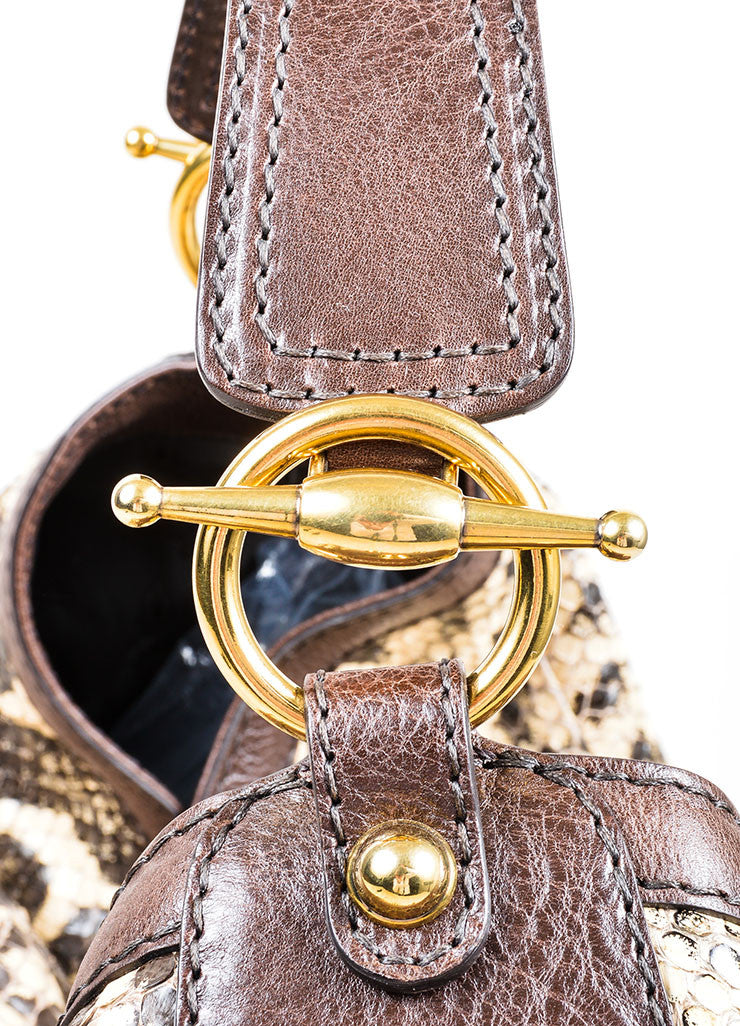 Brown and Cream Gucci Python Leather Large Horsebit Hobo Bag Detail 2