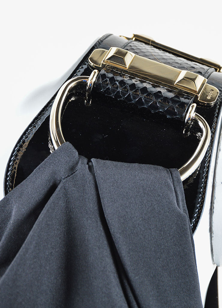 Gucci Black and Yellow Silk Patent Leather Belt One Shoulder Slit Gown Detail