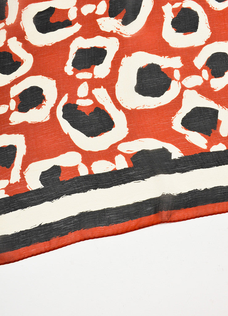 Gucci Red, Black, and White Silk Printed Sheer Square Scarf Detail