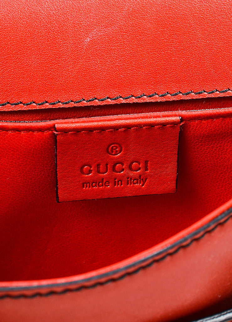 "Red Gucci Leather ""Emily"" Horsebit Tassel Chain Strap Shoulder Bag Brand"