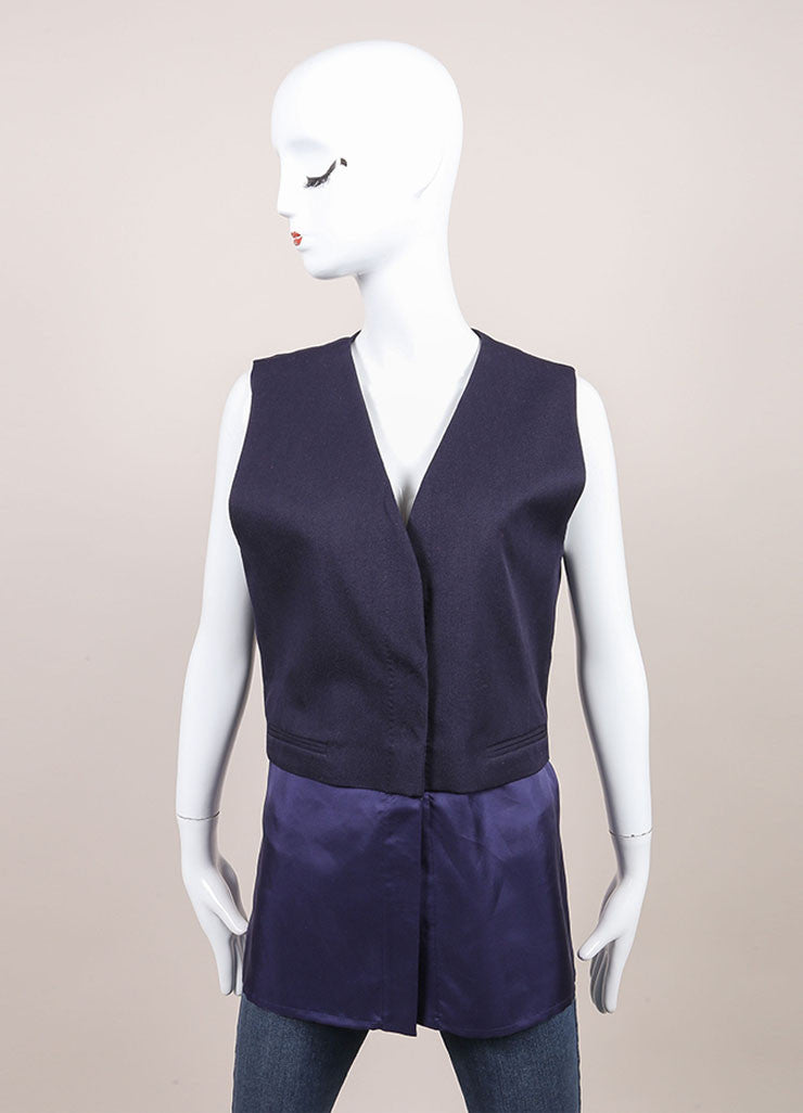 Haider Ackermann New With Tags Navy Combo Short Sleeve Waistcoat Vest Frontview 2