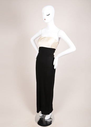 Heidi Weisel Cream and Black Silk Contrast Knit Strapless Gown Sideview