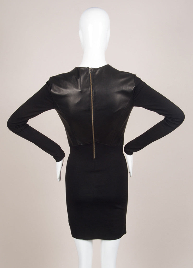 HELMUT Helmut Lang New With Tags Black Leather Knit Long Sleeve Dress Backview