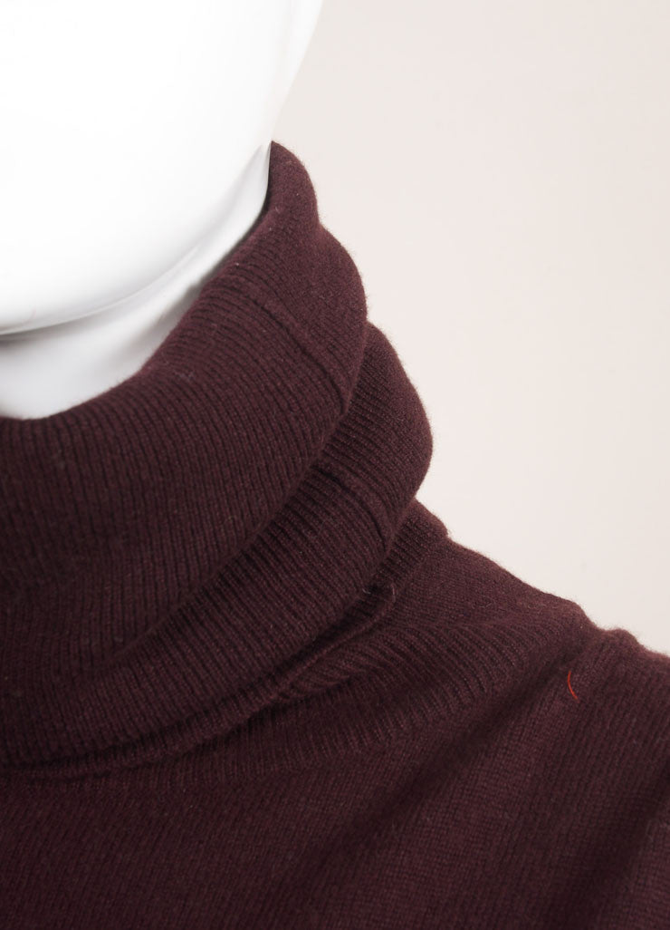 Hermes Maroon Cashmere Knit Turtleneck Tunic Sweater Dress Detail