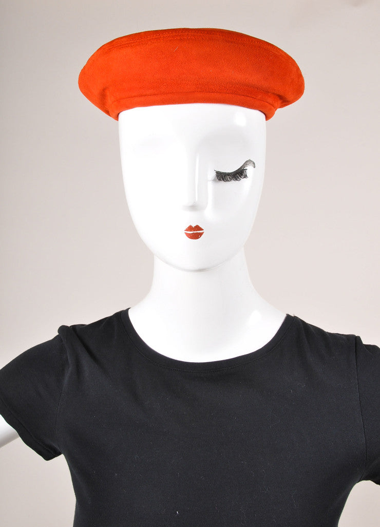 Hermes Red Suede Leather Beret Hat Frontview