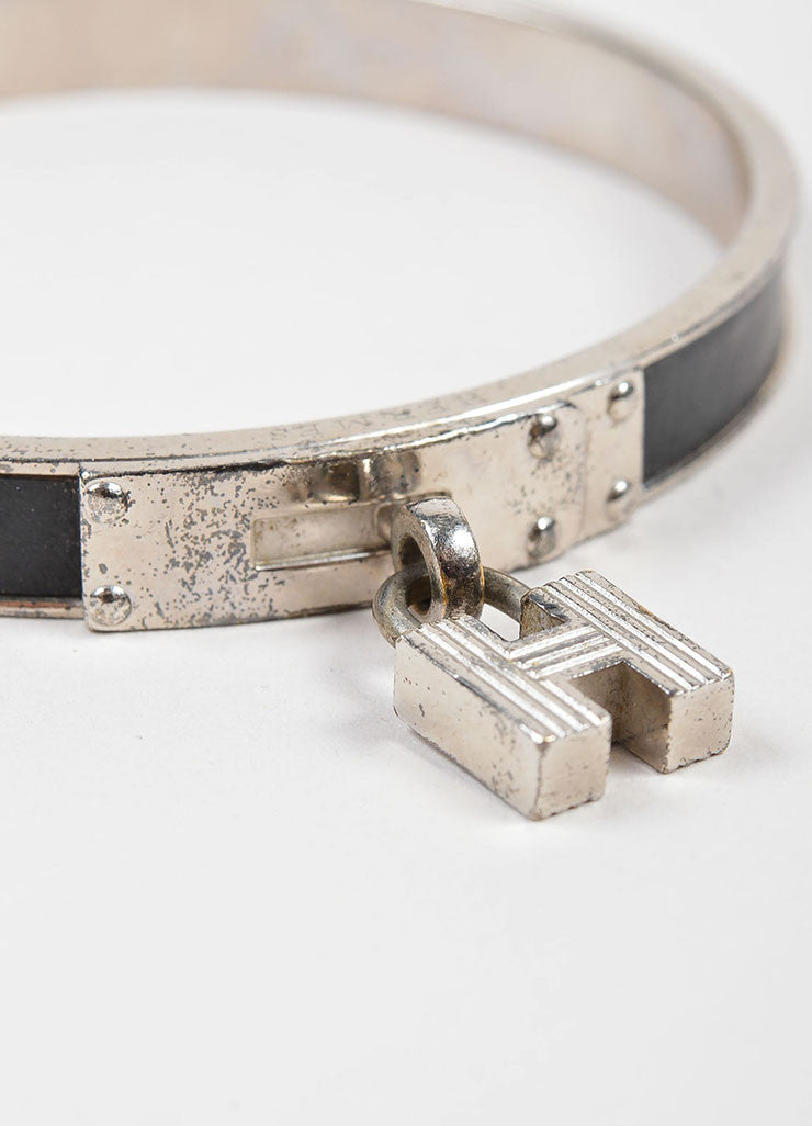 Silver Toned and Black Palladium Plated Leather Hermes Kelly 'H' Lock Charm Bracelet Detail