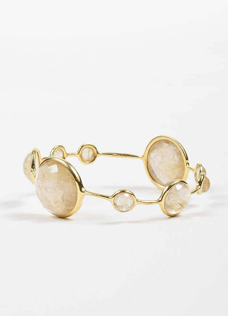 "18K Yellow Gold and Rutilated Quartz Ippolita ""Rock Candy"" Bangle Bracelet Frontview"