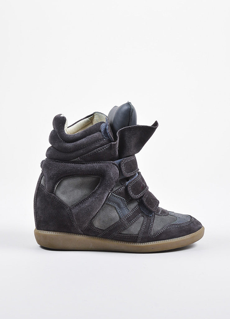 "Isabel Marant Charcoal Grey Suede Padded ""Bekett"" Wedge Sneakers Sideview"