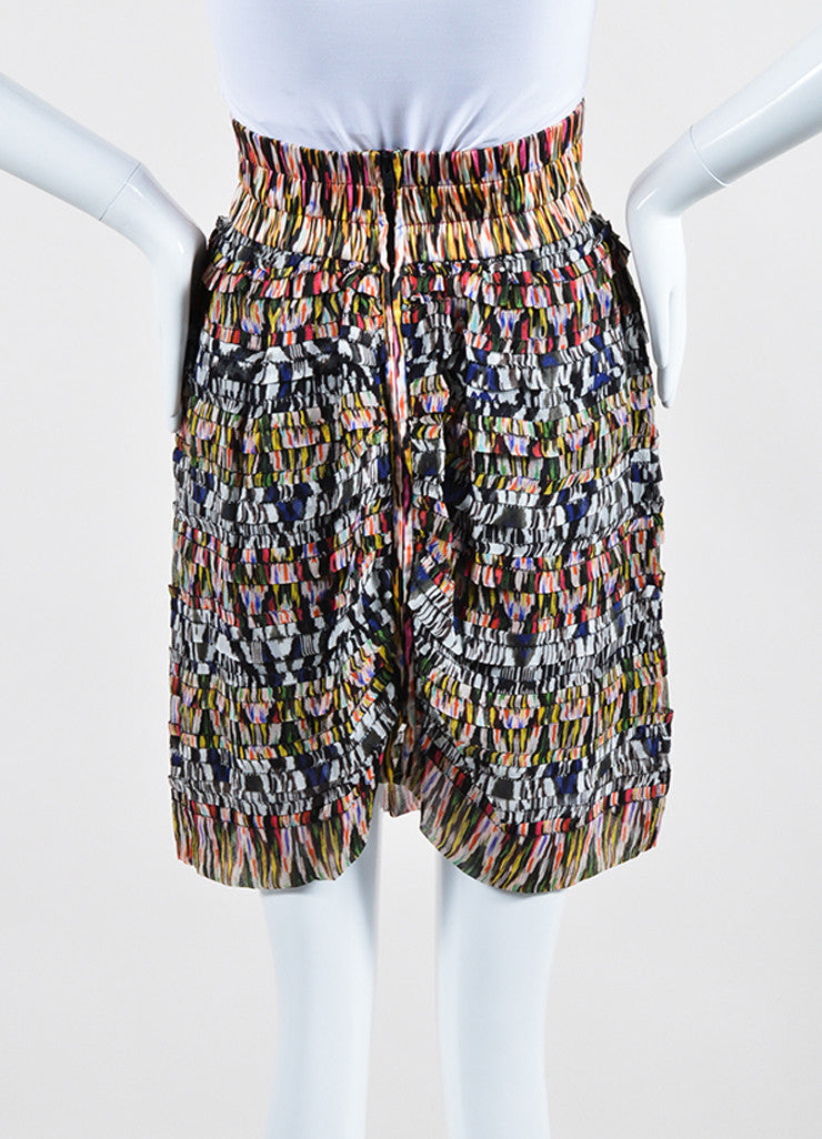 Multicolor Isabel Marant Silk Tiered Ruffled Printed Mini Skirt Backview