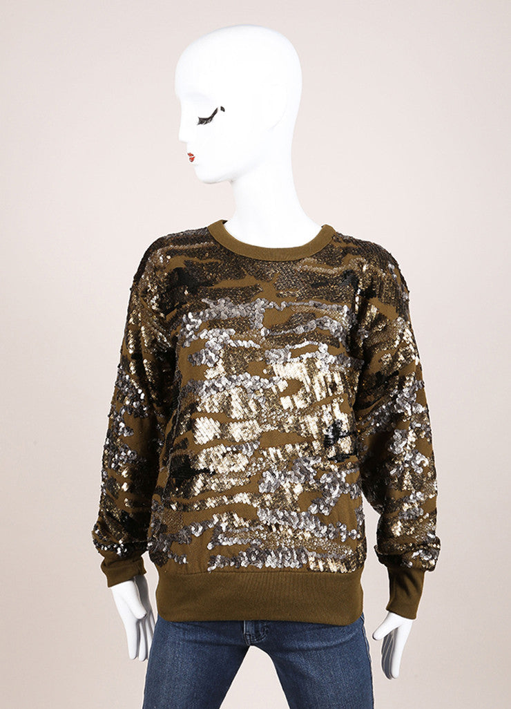 Isabel Marant New With Tags Olive Green Metallic Camouflage Sequin Sweatshirt Frontview