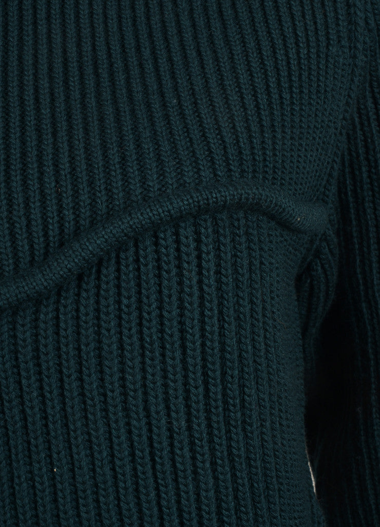 "Isabel Marant New With Tags Dark Green Chunky Wool Knit ""Nils Montaign"" Sweater Detail"
