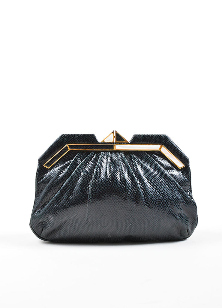 Judith Leiber Black Reptile Leather Mother Of Pearl Deco Evening Bag Frontview
