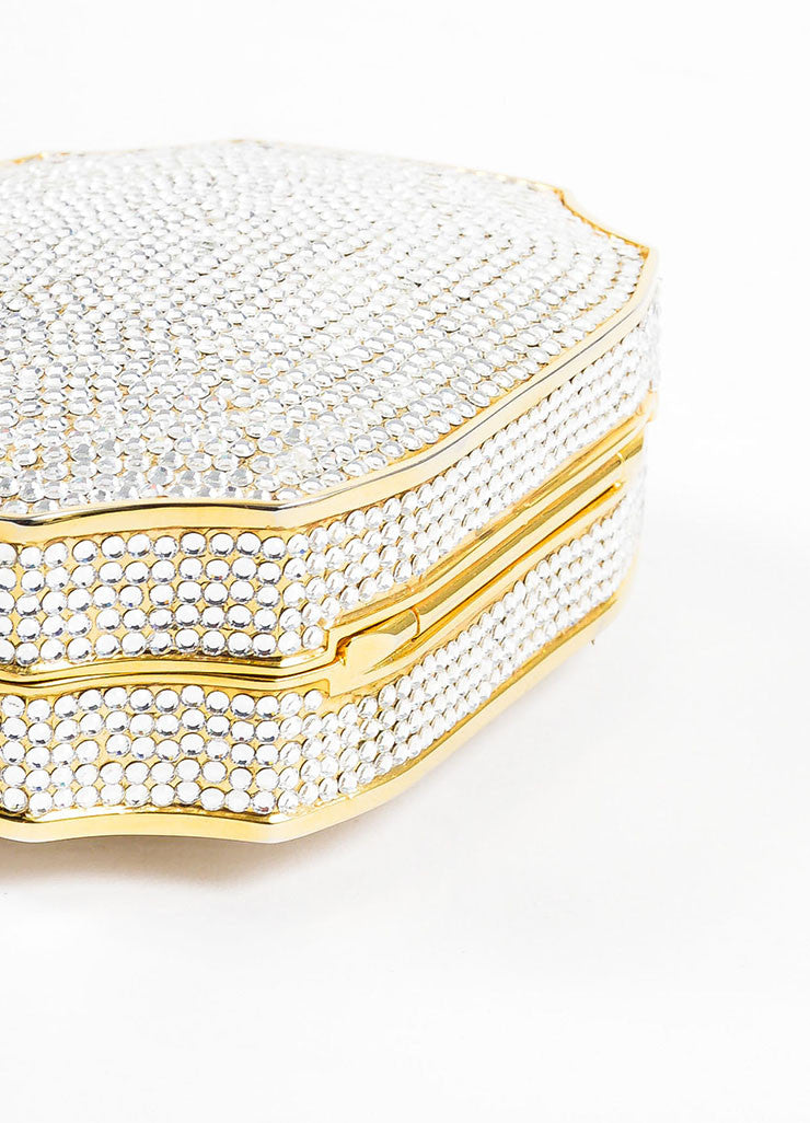 Judith Leiber Crystal Gold Toned Minaudiere Clutch Evening Bag Bottom View