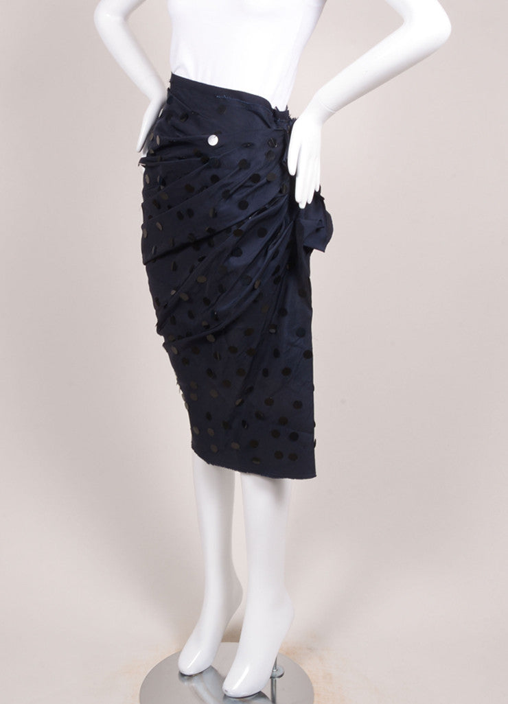 Lanvin Navy Blue Silk Paillette Embellished Ruched Skirt Sideview