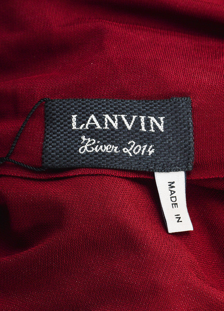 "Lanvin Burgundy Red ""Raisin"" Stretch Knit Long Draped Dress Brand"