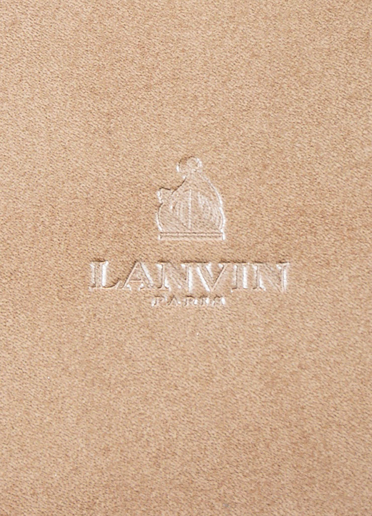 Lanvin Taupe Leather Fold Over Document Portfolio Clutch Brand
