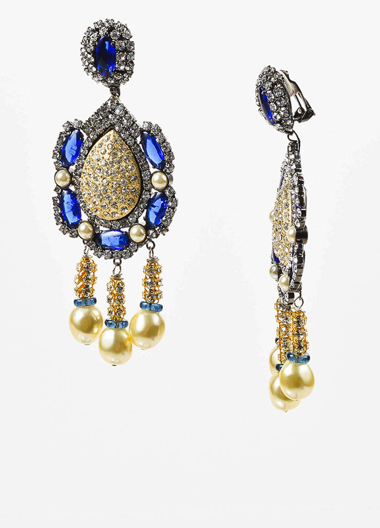 Lawrence Vrba Blue and Gold Toned Rhinestone Faux Pearl Oversized Drop Earrings Sideview