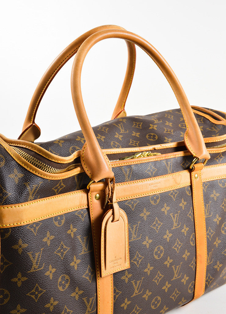 "Louis Vuitton Brown and Tan Coated Canvas and Leather Monogram Logo ""Dog Carrier 50"" Bag Detail 3"