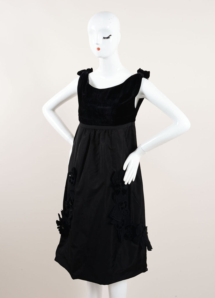 Louis Vuitton New With Tags Black Silk and Velvet Sleeveless Floral Applique Dress Sideview