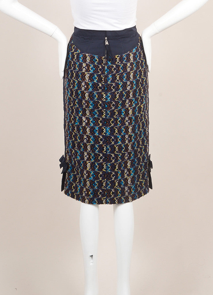 Louis Vuitton Navy Multicolor Wool Tweed & Side Bow Slit Pencil Skirt SZ 38 Backview
