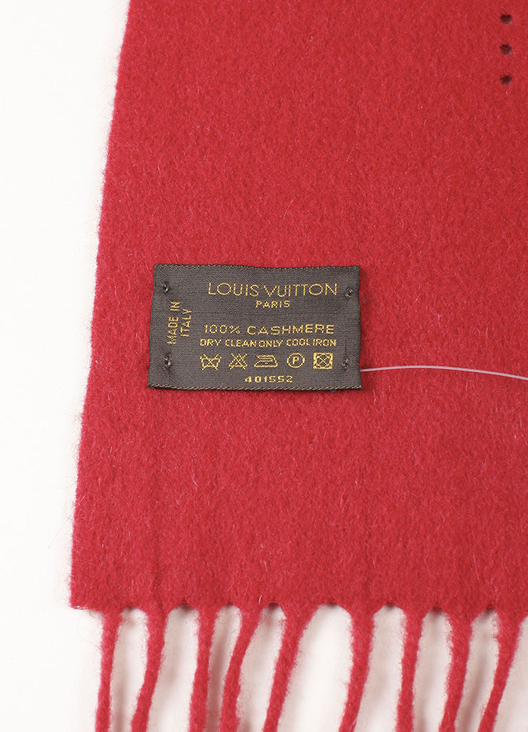 Louis Vuitton Red Cashmere Perforated Scarf Brand