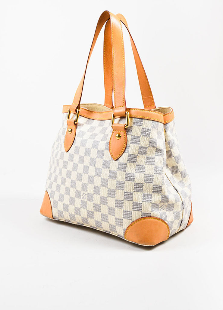 "Louis Vuitton White, Tan, and Blue Coated Canvas Damier Azur ""Hampstead PM"" Bag Sideview"