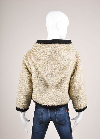 Marc Jacobs Beige and Black Mohair Woven Knit Trim Hooded Corp Sleeve Jacket Backview