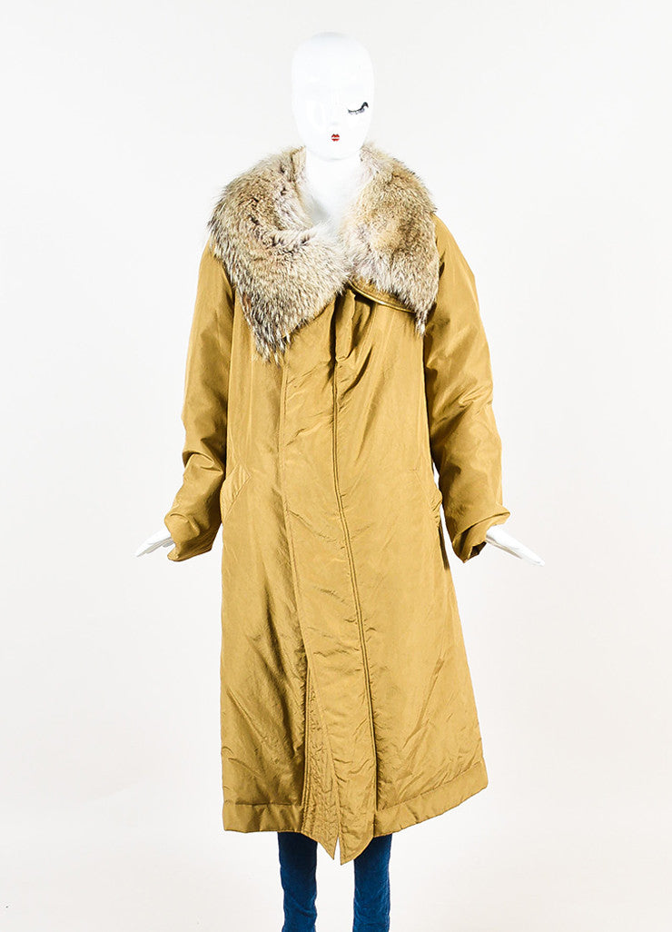 "Michael Kors ""Barley"" Tan Silk Coyote Fur Collar Trim Down Parka Coat Frontview 2"