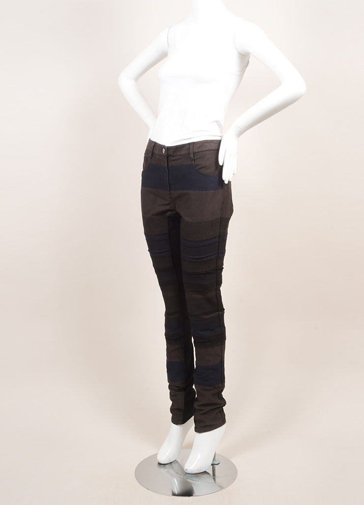 3.1 Phillip Lim New With Tags Black and Grey Cotton Knit Trim Patchwork Skinny Pants Sideview